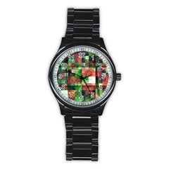 Paper Background Color Graphics Stainless Steel Round Watch