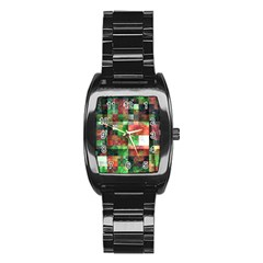 Paper Background Color Graphics Stainless Steel Barrel Watch