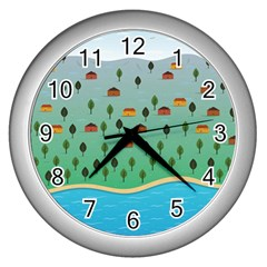 Rural Scenery Wall Clocks (silver)  by AnjaniArt