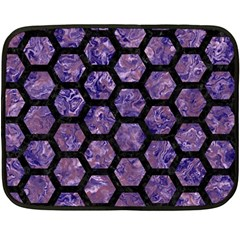 Hexagon2 Black Marble & Purple Marble (r) Fleece Blanket (mini) by trendistuff