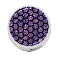Hexagon2 Black Marble & Purple Marble (r) 4 Port Usb Hub (one Side) by trendistuff