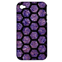 Hexagon2 Black Marble & Purple Marble (r) Apple Iphone 4/4s Hardshell Case (pc+silicone) by trendistuff