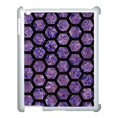 Hexagon2 Black Marble & Purple Marble (r) Apple Ipad 3/4 Case (white) by trendistuff