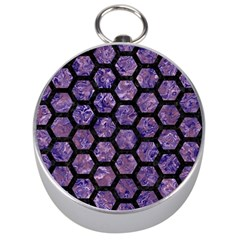 Hexagon2 Black Marble & Purple Marble (r) Silver Compass by trendistuff