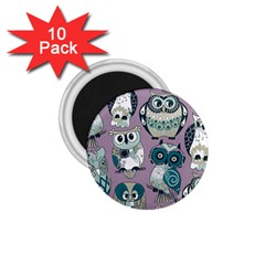Seamless Owl Pattern Purple 1 75  Magnets (10 Pack)  by AnjaniArt
