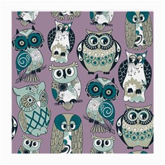 Seamless Owl Pattern Purple Medium Glasses Cloth (2 Side) by AnjaniArt