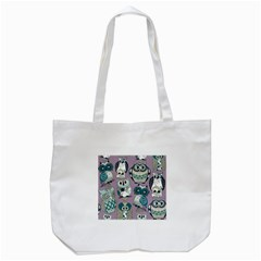 Seamless Owl Pattern Purple Tote Bag (white) by AnjaniArt