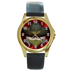 Illustration Drawing Vector Color Round Gold Metal Watch
