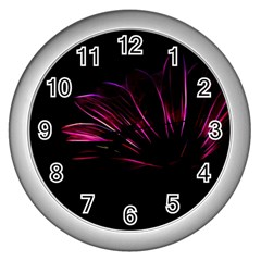 Purple Flower Pattern Design Abstract Background Wall Clocks (silver)  by Amaryn4rt