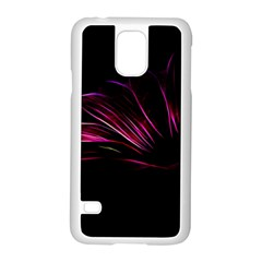 Purple Flower Pattern Design Abstract Background Samsung Galaxy S5 Case (white) by Amaryn4rt