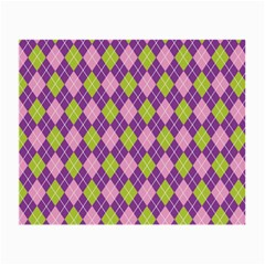Purple Green Argyle Background Small Glasses Cloth (2 Side) by AnjaniArt