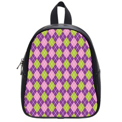 Purple Green Argyle Background School Bags (Small)  by AnjaniArt