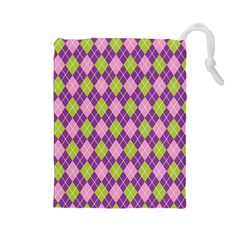 Purple Green Argyle Background Drawstring Pouches (large)