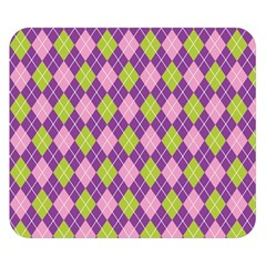 Purple Green Argyle Background Double Sided Flano Blanket (small)  by AnjaniArt