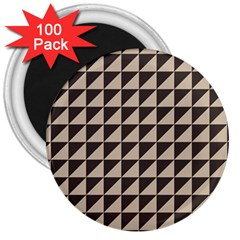 Brown Triangles Background Pattern  3  Magnets (100 Pack)