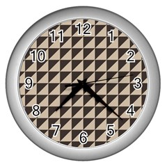 Brown Triangles Background Pattern  Wall Clocks (silver)