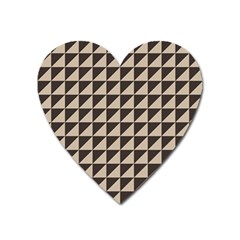 Brown Triangles Background Pattern  Heart Magnet by Amaryn4rt