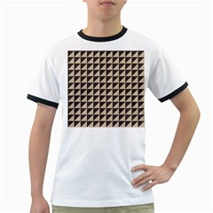 Brown Triangles Background Pattern  Ringer T Shirts