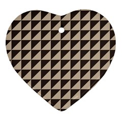 Brown Triangles Background Pattern  Heart Ornament (2 Sides)