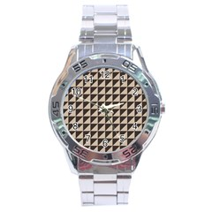 Brown Triangles Background Pattern  Stainless Steel Analogue Watch by Amaryn4rt