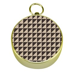 Brown Triangles Background Pattern  Gold Compasses by Amaryn4rt
