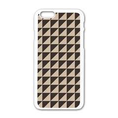 Brown Triangles Background Pattern  Apple Iphone 6/6s White Enamel Case