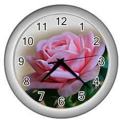 Rose Pink Flowers Pink Saturday Wall Clocks (silver)  by Amaryn4rt