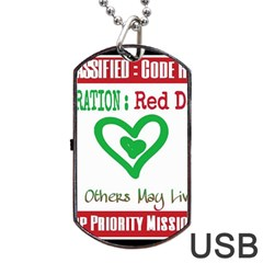 Oprd1 Dog Tag Usb Flash (one Side) by OperationRedDog