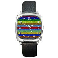 Pattern Background Square Metal Watch