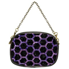Hexagon2 Black Marble & Purple Marble Chain Purse (two Sides) by trendistuff