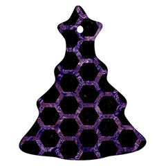 Hexagon2 Black Marble & Purple Marble Christmas Tree Ornament (two Sides) by trendistuff