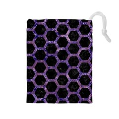 Hexagon2 Black Marble & Purple Marble Drawstring Pouch (large)