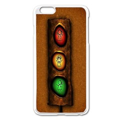 Traffic Light Green Red Yellow Apple iPhone 6 Plus/6S Plus Enamel White Case by AnjaniArt