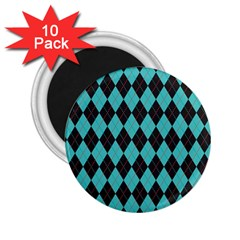 Tumblr Static Argyle Pattern Blue Black 2 25  Magnets (10 Pack)  by AnjaniArt