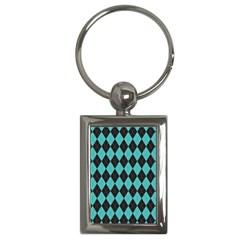 Tumblr Static Argyle Pattern Blue Black Key Chains (rectangle)  by AnjaniArt