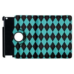 Tumblr Static Argyle Pattern Blue Black Apple Ipad 2 Flip 360 Case by AnjaniArt