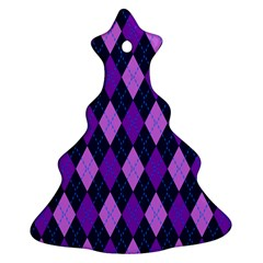Tumblr Static Argyle Pattern Blue Purple Christmas Tree Ornament (2 Sides) by AnjaniArt