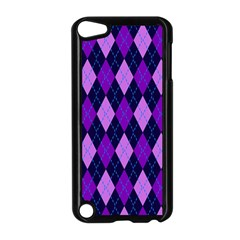 Tumblr Static Argyle Pattern Blue Purple Apple Ipod Touch 5 Case (black) by AnjaniArt