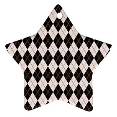 Tumblr Static Argyle Pattern Gray Brown Star Ornament (two Sides)  by AnjaniArt