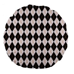 Tumblr Static Argyle Pattern Gray Brown Large 18  Premium Flano Round Cushions by AnjaniArt