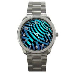 Turtle Swimming Black Blue Sea Sport Metal Watch by AnjaniArt