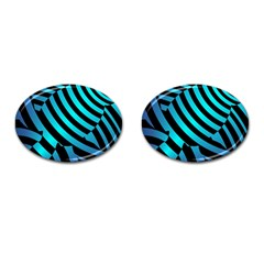 Turtle Swimming Black Blue Sea Cufflinks (oval) by AnjaniArt