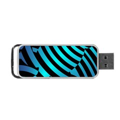 Turtle Swimming Black Blue Sea Portable Usb Flash (one Side) by AnjaniArt
