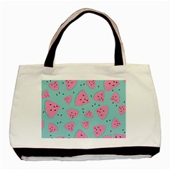 Watermelon Red Blue Basic Tote Bag (two Sides) by AnjaniArt