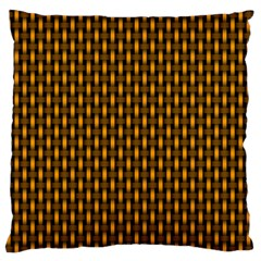 Webbing Woven Bamboo Orange Yellow Large Flano Cushion Case (one Side) by AnjaniArt