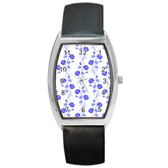 Vertical Floral Barrel Style Metal Watch by AnjaniArt