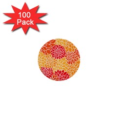 Vintage Floral Flower Red Orange Yellow 1  Mini Buttons (100 Pack)  by AnjaniArt