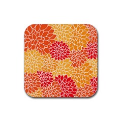 Vintage Floral Flower Red Orange Yellow Rubber Square Coaster (4 Pack)  by AnjaniArt