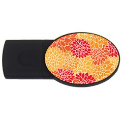 Vintage Floral Flower Red Orange Yellow Usb Flash Drive Oval (4 Gb)  by AnjaniArt