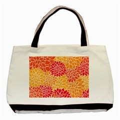 Vintage Floral Flower Red Orange Yellow Basic Tote Bag by AnjaniArt